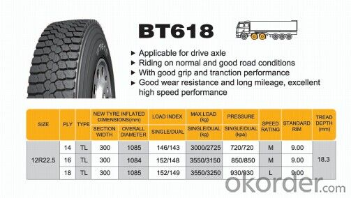 Truck and Bus Radial Tyre BT618 with Block Pattern