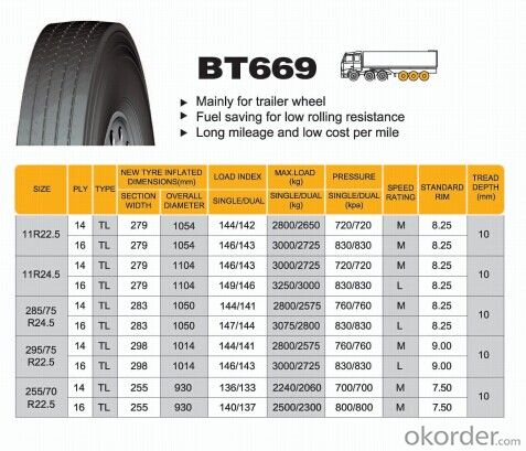 Truck and Bus Radial Tyre B669 with Good Quality