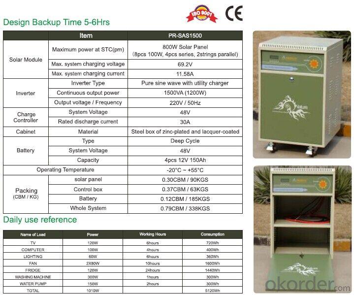 Off grid Solar Power System PR-SAS1500 With Battery Tank 1200W