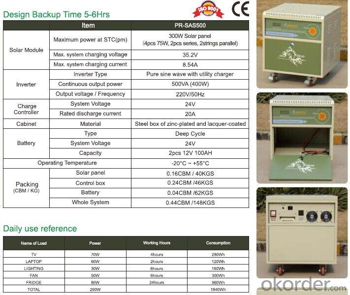 Off grid Solar Pwer System PR-SAS500 With Battery Tank 400W