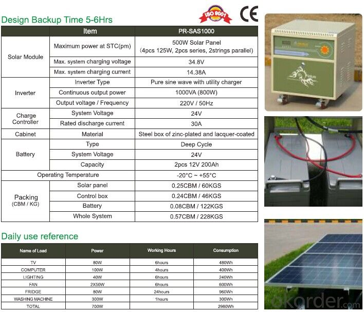Off Grid Solar Power System PR-SAS1000 With Battery Tank 800W