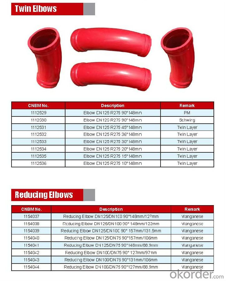 Concrete Pump Truck Parts Elbow DN100 R170 90DGR 127MM Mn13-4 Casting