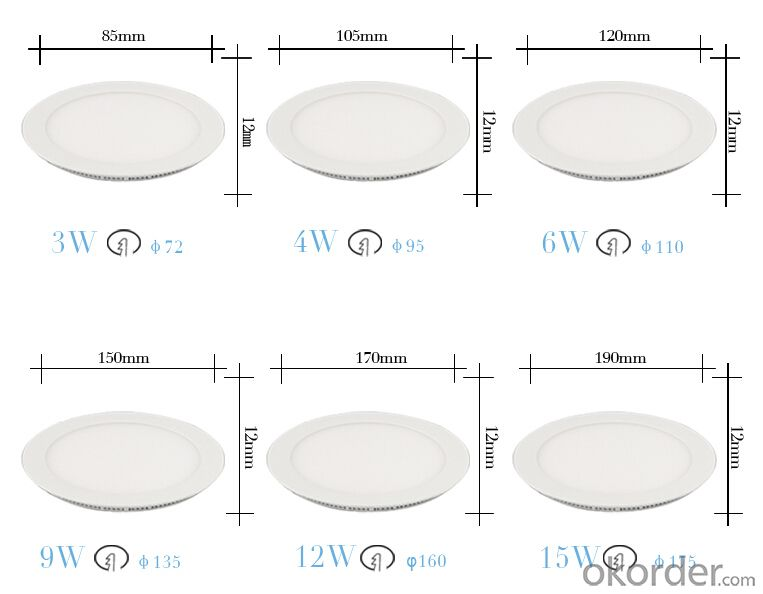 Slim Led Panel Light 3w-24w  Recessed Panel Light