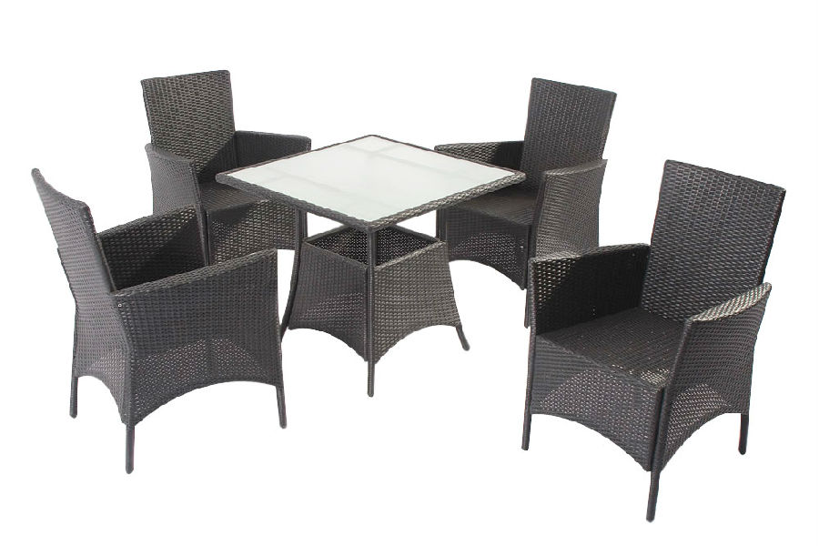 Rattan Garden Dining Set and  Outdoor Plywood Table with Chair