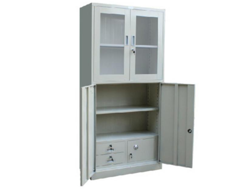 Metal Locker Office Furniture Double Door with Drawer  Steel Cabinet