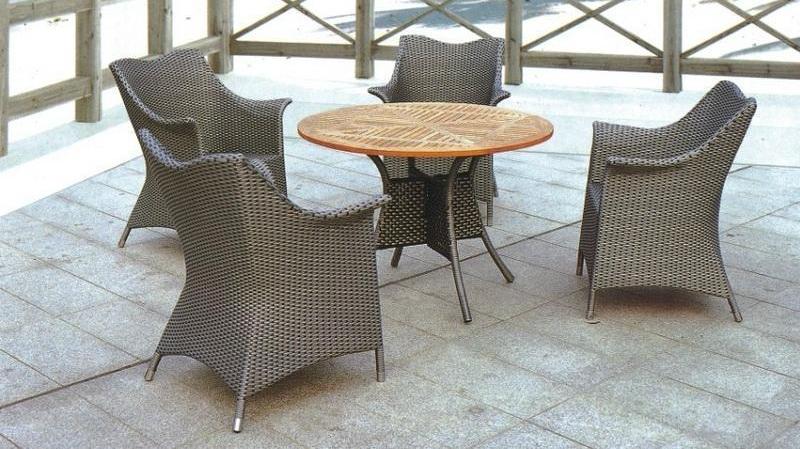 Aluminum PE Wicker Rattan Outdoor Garden Table