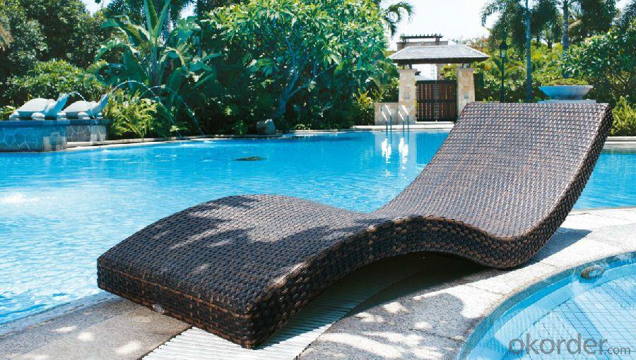 Outdoor Rattan Sun Lounger Wicker Garden Patio Sun Bed