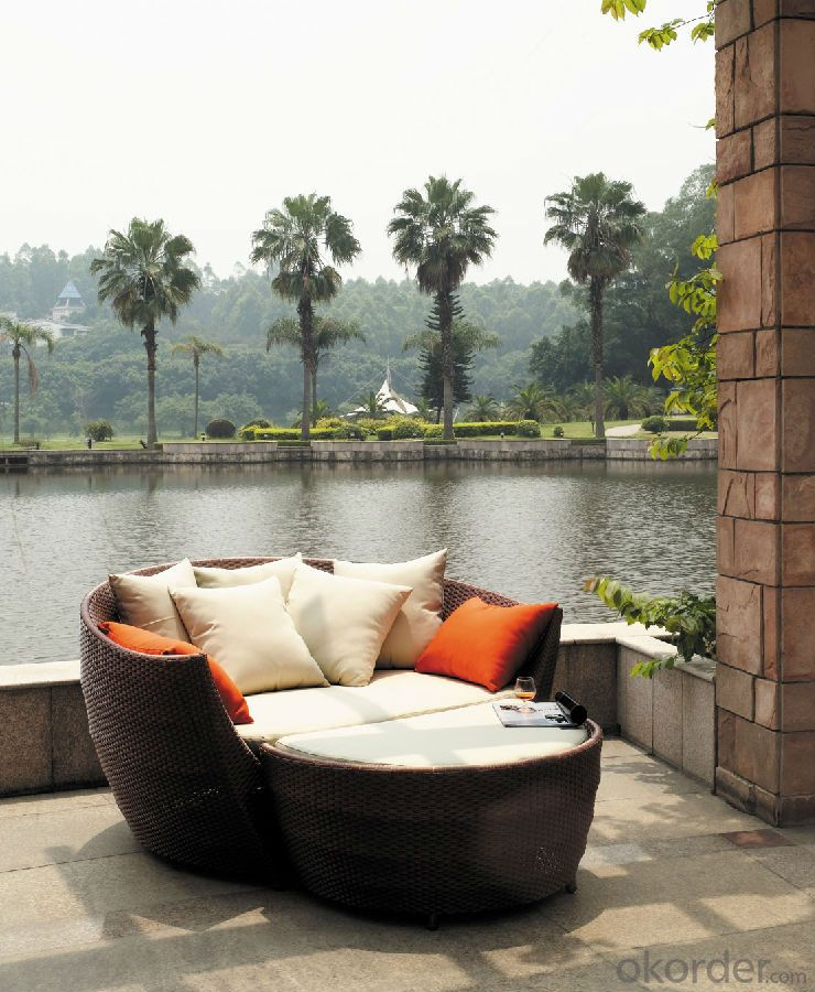 Aluminium Rattan Outdoor Rattan Sun Lounger Hotel SPA