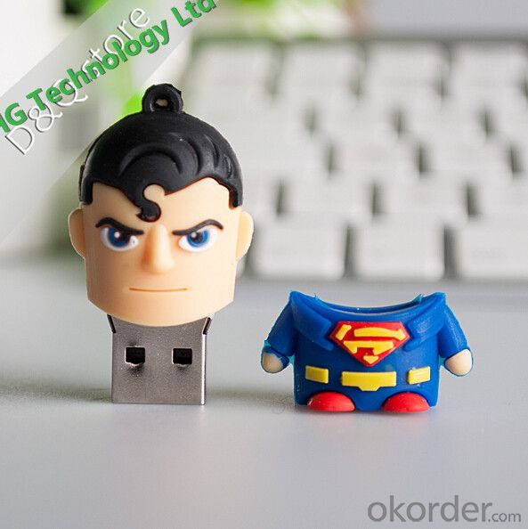 Top Quanlity Cute PVC Superman Cartoon USB Flash Drive (HBU-028)