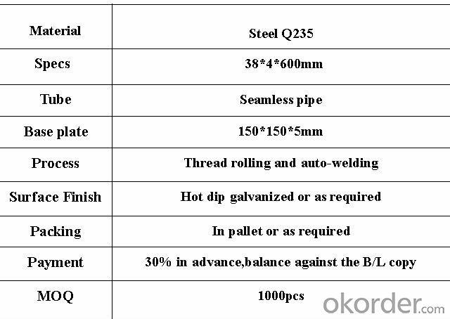 OD38mm scaffolding base jack support for sale