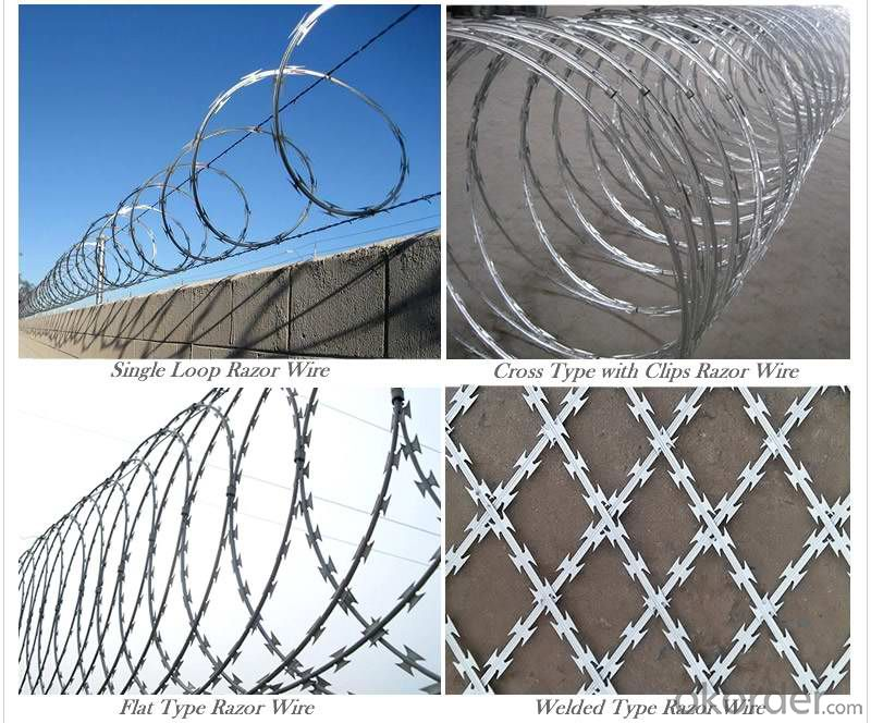 Cross Type Concertina Razor Wire Barbed Tape
