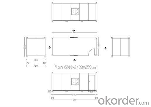 20ft Flat-pack Container House for Living Office Toilet Bathroom Shower