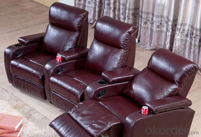 Genuine Leather and Manual Recliner Functional Sofa