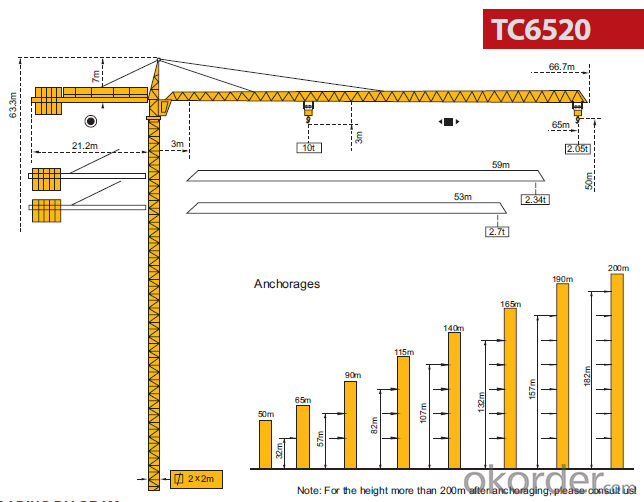 Tower Crane  Jib Length 65M Made in China