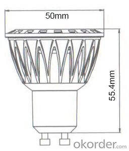CE/RoHS 100-250V Dimmable GU10 COB 5W LED Spotlight