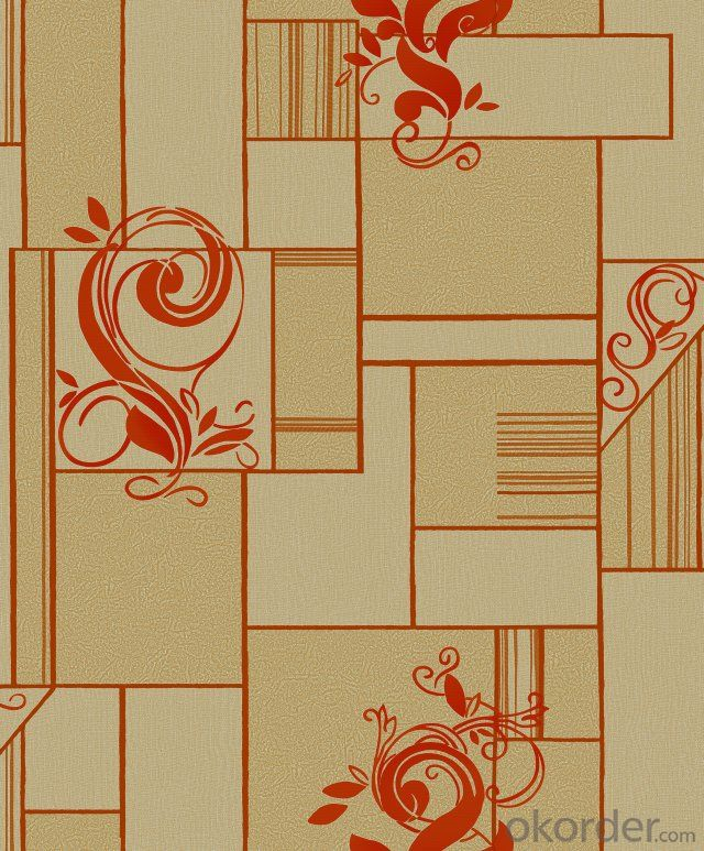 PVC Wallpaper Modern Floral Design Country Style Flock Living Room Wallpaper