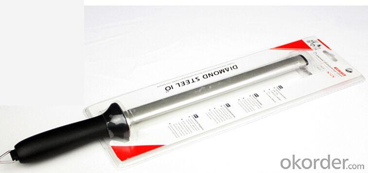 Stainless Steel Diamond Coated 8'' Knife Sharpening Rod