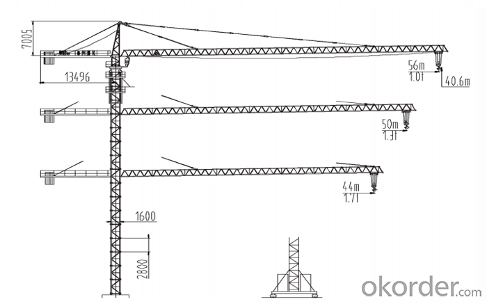 construction machinery 6T toplesstower crane with CE ISO certificate