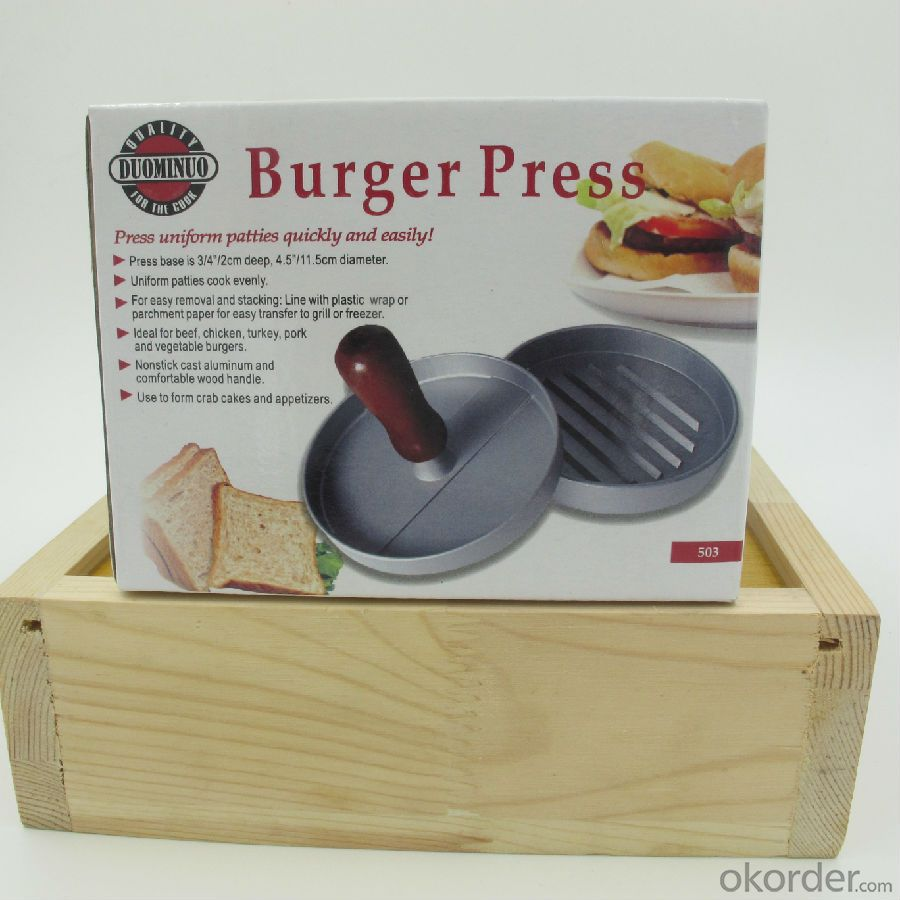 Aluminum Non-stick Hamburger Press with Wooden Handle