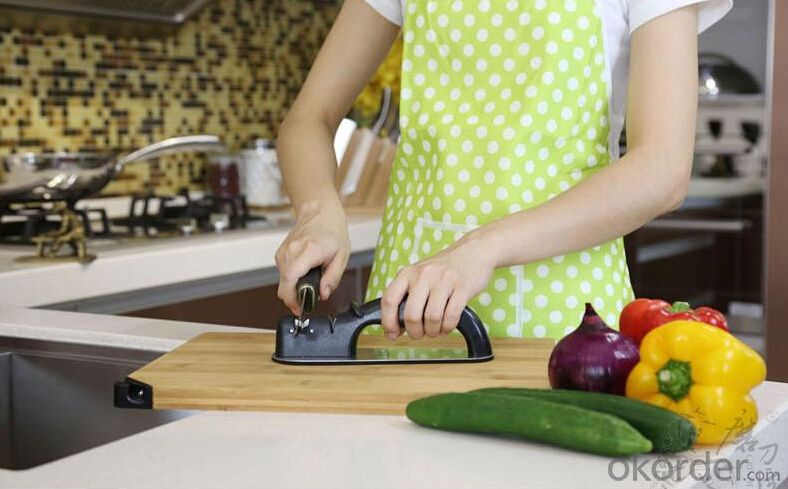Handed Kitchen Knife Sharpener with 2 Steel&Ceramic Stages