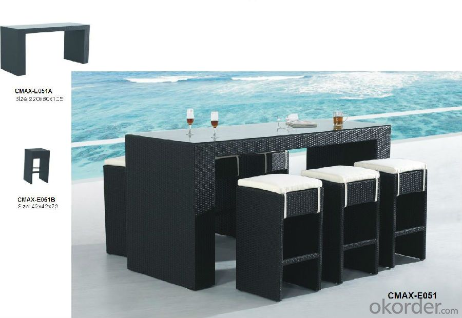 Bar Set for Restaurant Outdoor Furniture  with Waterproof Cushion CMAX-E626