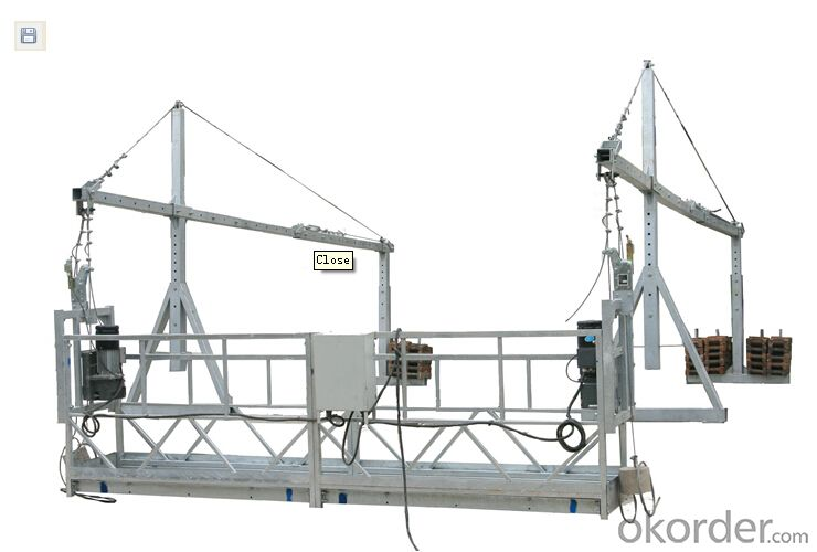 Aluminum Suspended Working Platform with Steel Rope 6*19W+IWS-8.6ZLP800