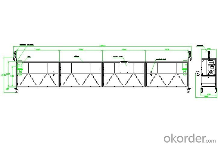 ZLP1000 2.5m*3 1000 kg Safe Working Suspended Platform Cradle
