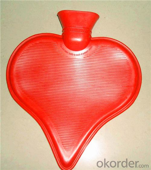 Heart-shaped Nature Rubber Hot Water Bottle 1000ml Particular BS Quality