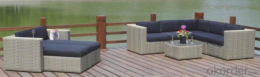 Outdoor Furniture Aluminum PE Wicker Rattan Outdoor Garden Table Set