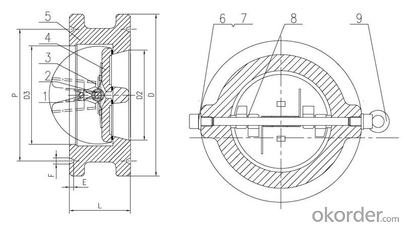 Swing Check Valve Wafer Type Double Disc Body Material  WCB