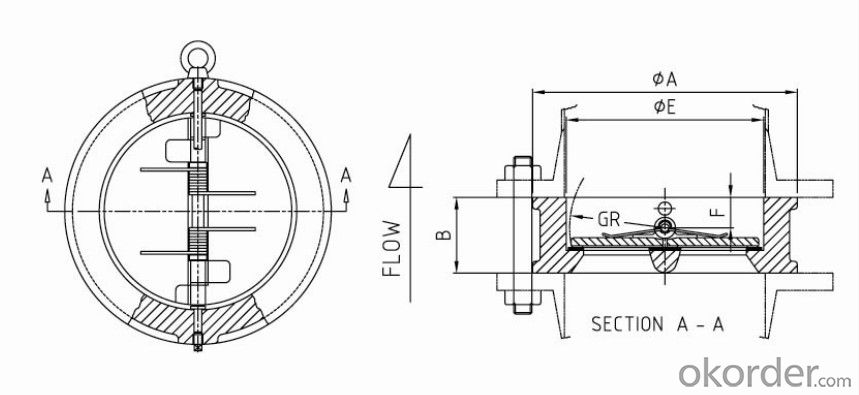 Swing Check Valve Wafer Type Double Disc DN  100 mm