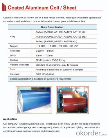 Aluminum Coil  Coating in  PE, PVDF, Epoxy