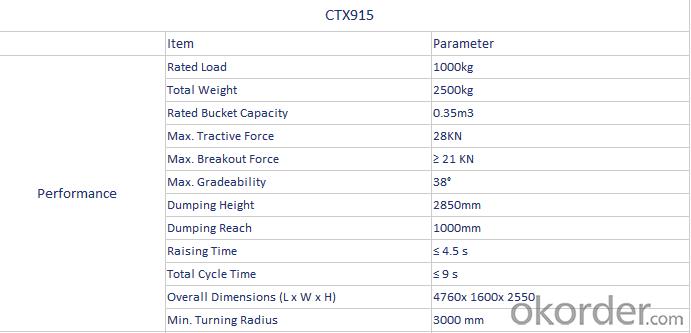 ZL10(CTX915) 1.0 ton Mini Wheel Loader/Front End Loader