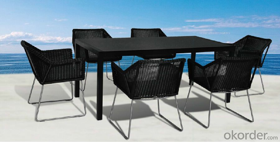 Dining Set  Wicker Outdoor Patio Table with Chair in Rattan