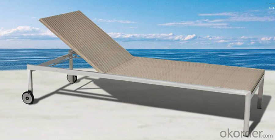 Wicker Sunbed for Beach or Hotel Pool Side Sun Lounger in Rattan