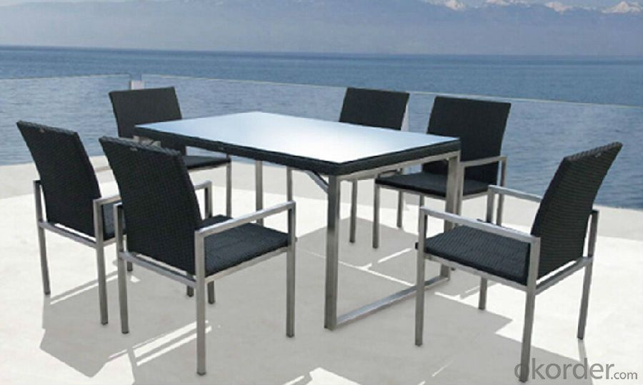Patio Table with Chair in Rattan Outdoor Wicker Dining Set