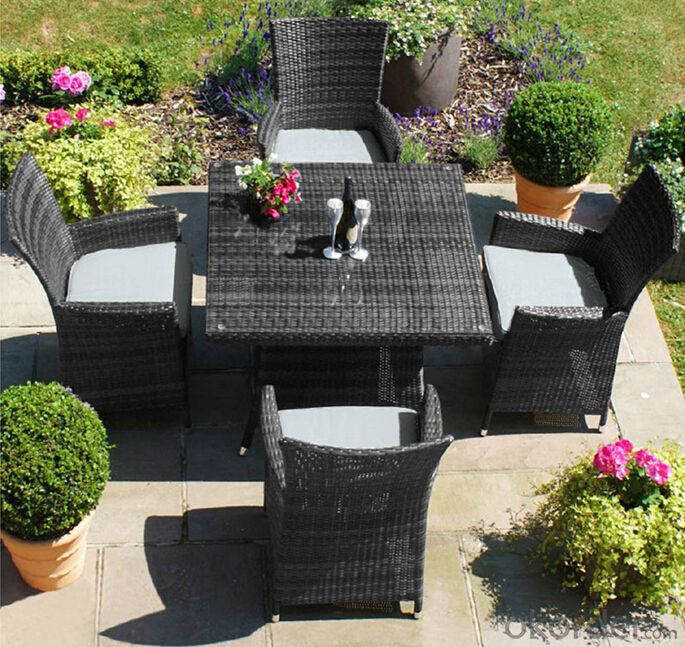 Outdoor Dining Set Patio Table with Chair in Rattan