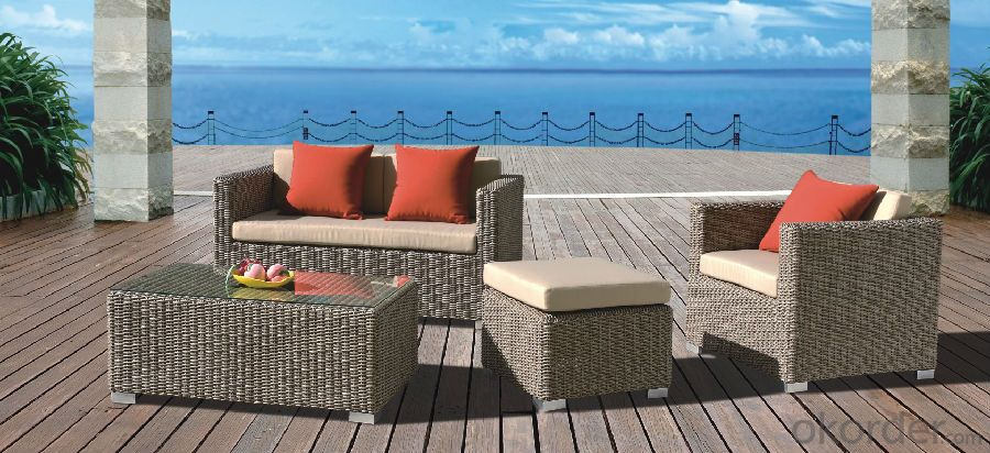 Black Rattan Garden Sofa with Seat & Back Cushion  CMAX-YT018