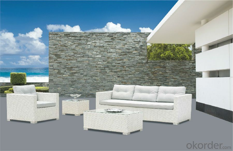 White Rattan Garden Sofa PE Rattan with Aluminum Frame  CMAX-YT017