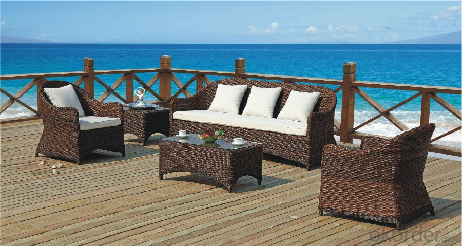 PE Rattan Garden Sofa with Seat & Back Cushion  CMAX-YT019