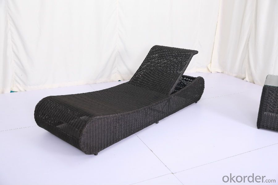 Black Rattan Sun Lounger  for Garden and Beach CMAX-SL011LJY