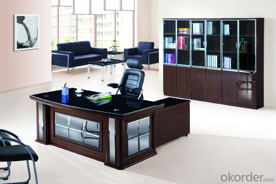 Office Table/Commerical Desk Classical Boss Table Solid Wood/MDF/Glass with Best Price CN594A