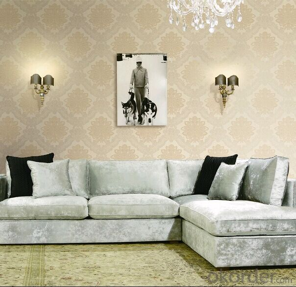 PVC Wallpaper Waterproof New Fashion Modern TV and Sofa Background Embossed Wallpaper
