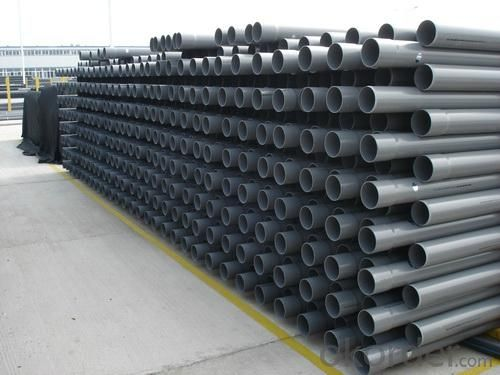 PVC Pipe  0.8MPaWall thickness:1.6mm-26.7mm Specification: 16-630mm Length: 5.8/11.8M Standard: GB
