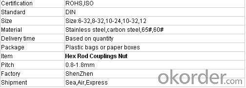 Hex Coupling Nut Made in China with High Quality Factory Direct Price