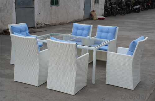 White Rattan 6 Seater Sofa for Dinning with Waterproof Cushion CMAX-SS008CQT