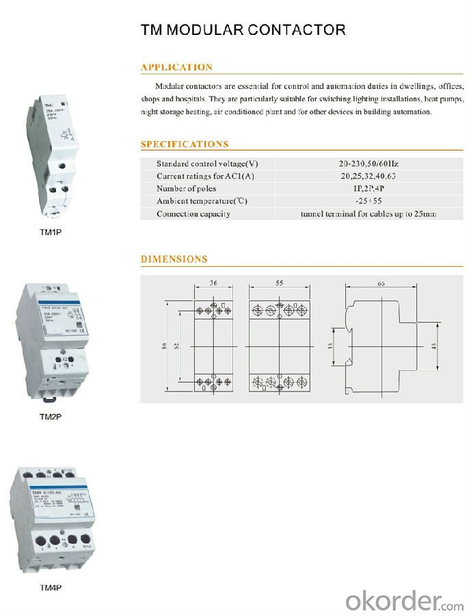 Three phase AC TM MODULAR OEM coil magnetic electric contactor