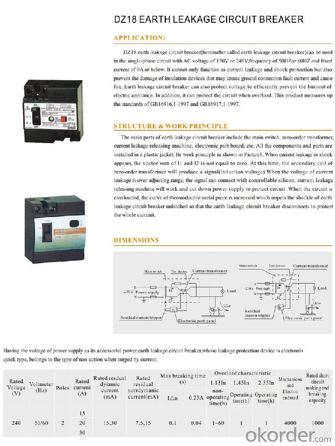 DZ18 Series KRC Residual Current Circuit Breaker