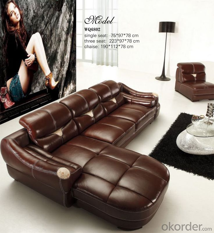Golden Quality Leather Sofa with Popular Style