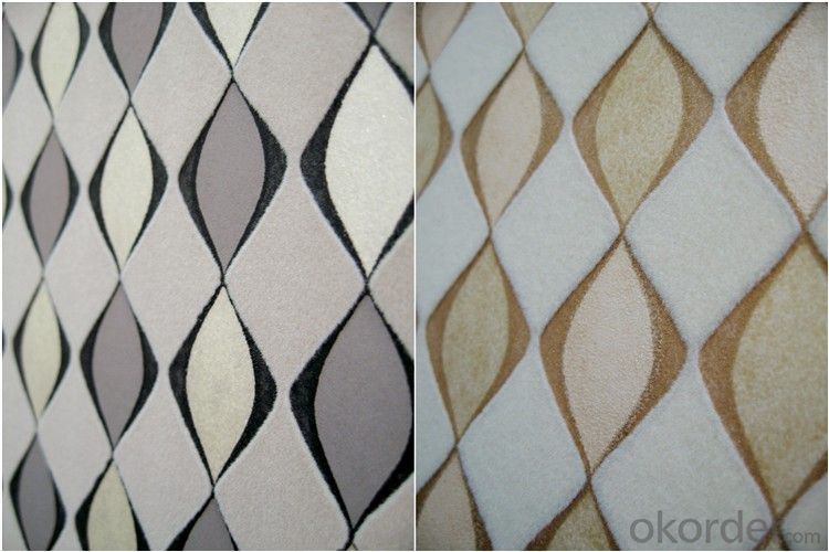 Nonwoven Wallpaper  Velvet Flocking Wallpaper Enviromental Wallpaper